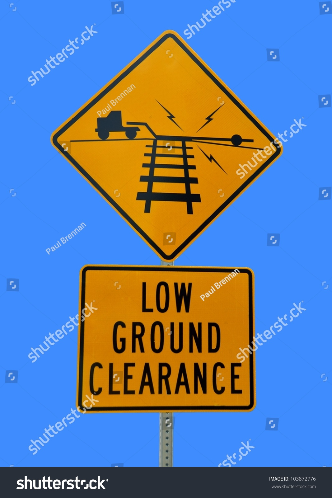 Low Ground Clearance Sign Railroad Crossing Stock Photo ...