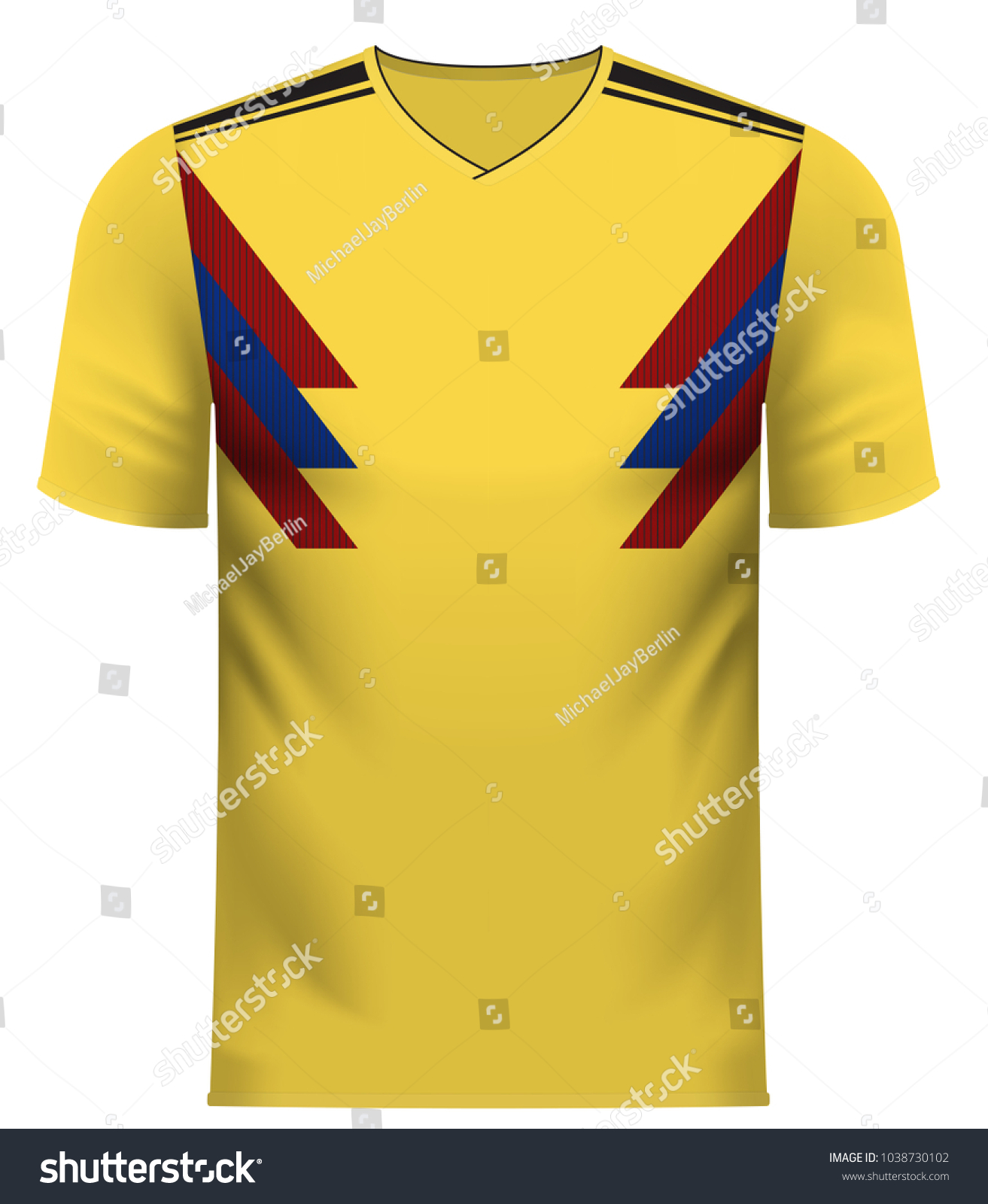 9252ea403 Colombia national soccer team shirt in generic country colors for fan  apparel.