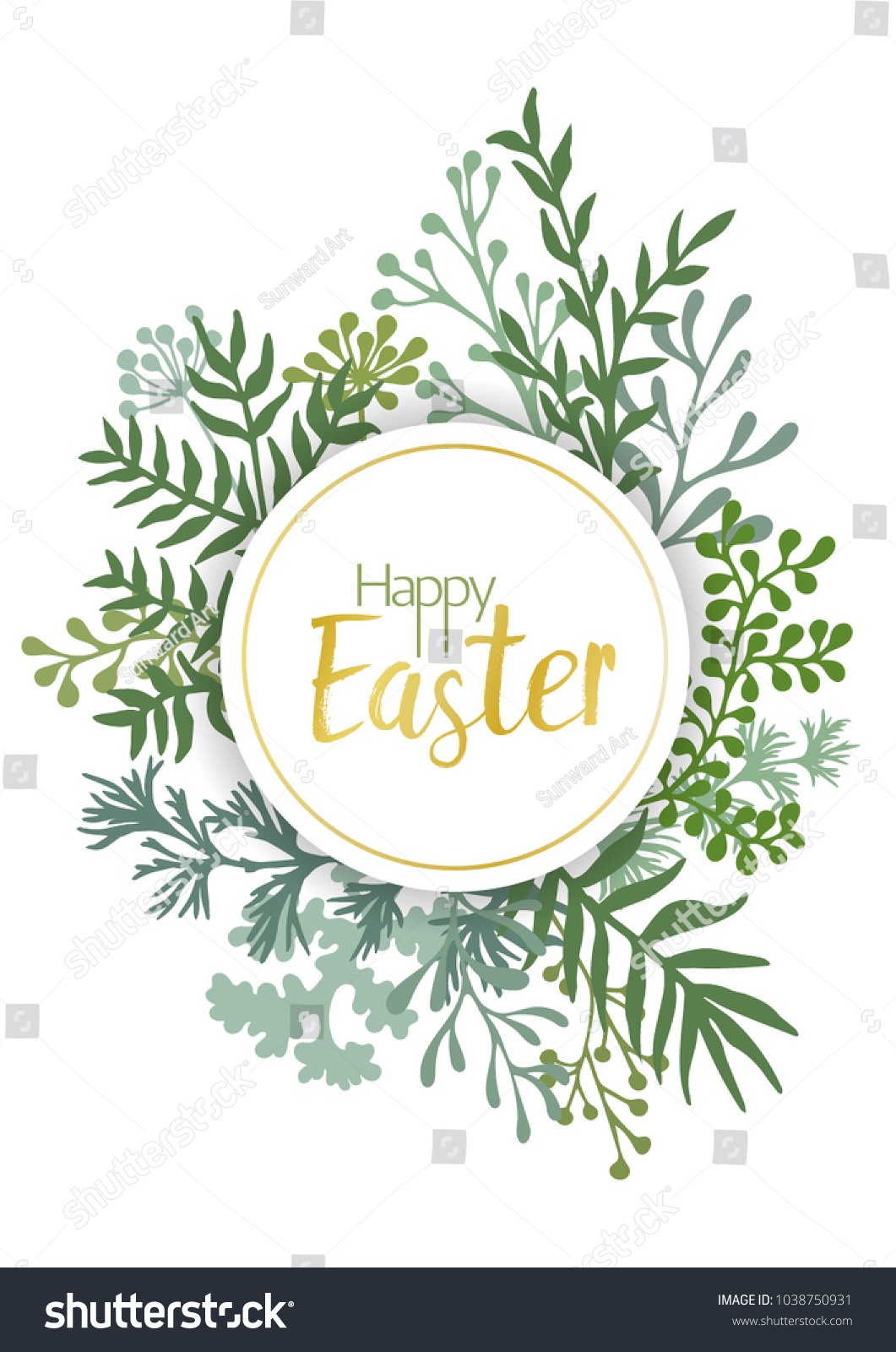 Happy Easter Vector Cards Herbal Twigs Stock Vector 1038750931