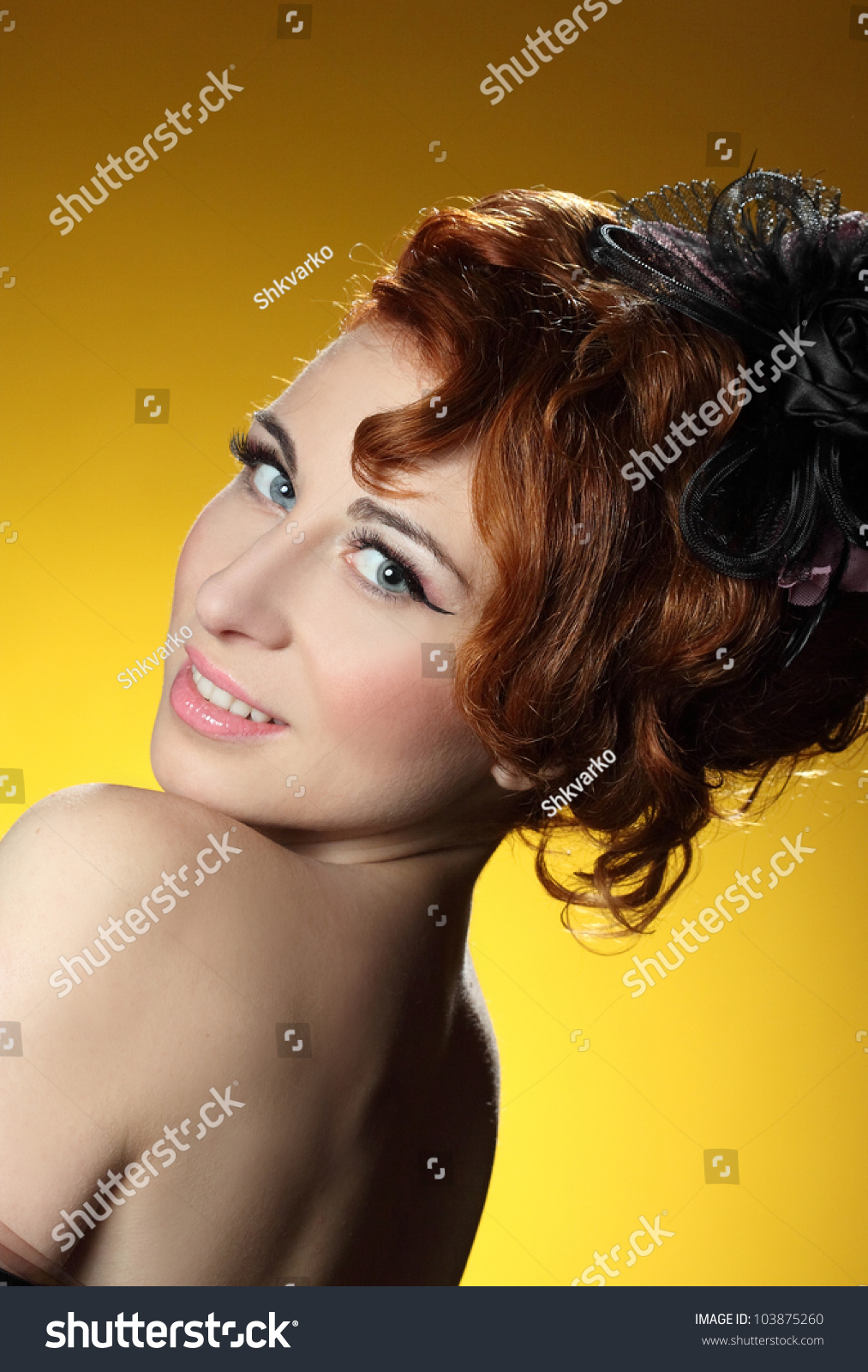 young girl with red hair stock photo image of forest beautiful young girl with red hair on a yellow background