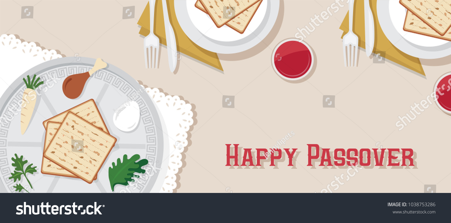 Traditional passover table passover dinner passover stock vector traditional passover table for passover dinner with passover plate vector illustration template banner design buycottarizona