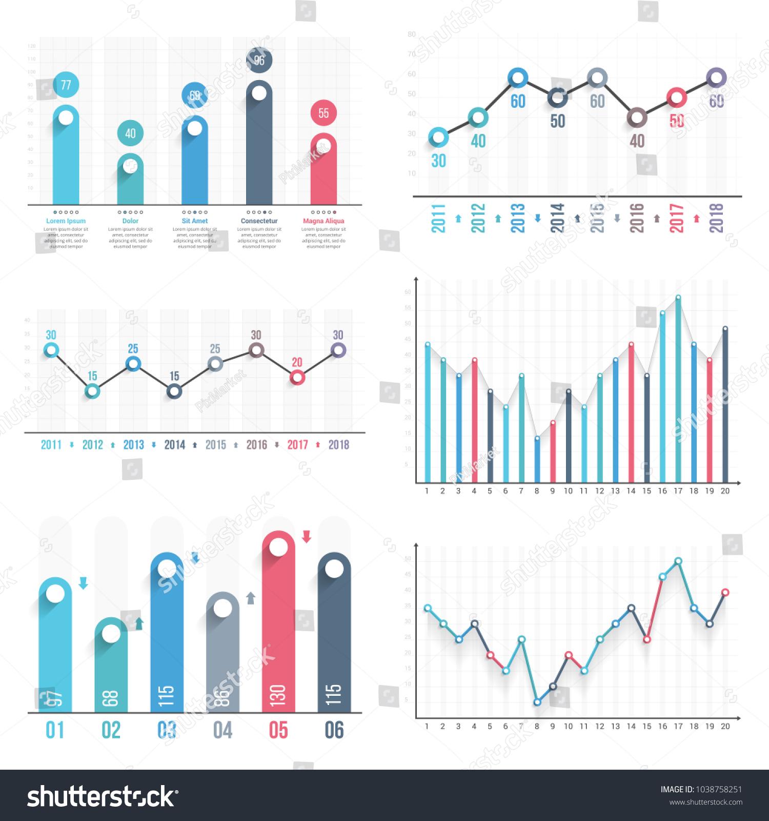 bar graph line graph templates business のベクター画像素材