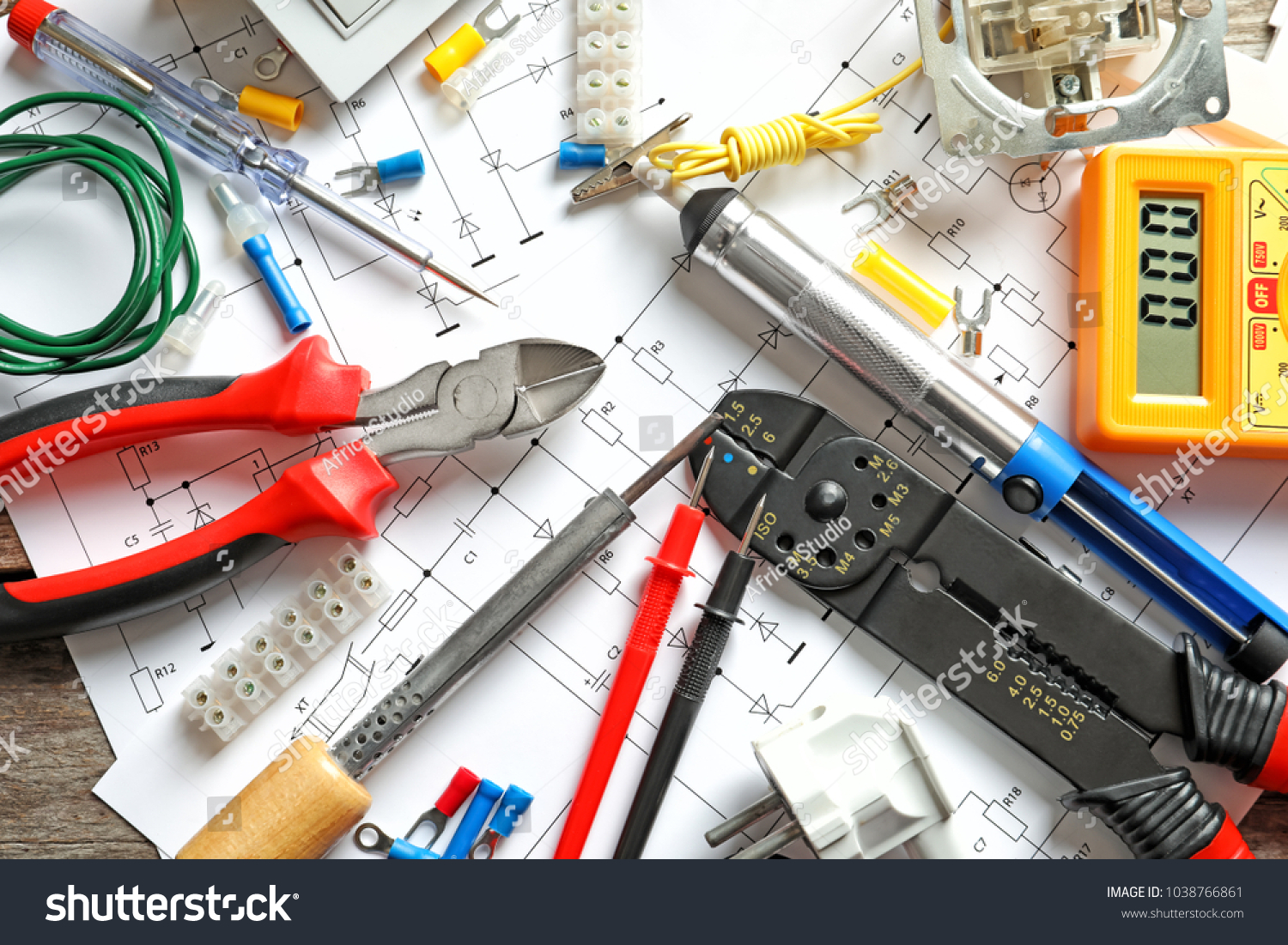 Different Electrical Tools On Circuit Diagram Stock Photo Edit Now Tool