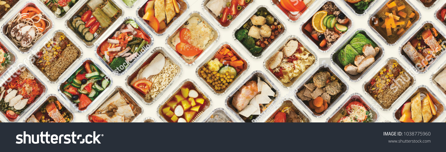Collection of take away foil boxes with healthy food. Set of containers with everyday meals - meat, vegetables and law fat snacks on white background, top view #1038775960