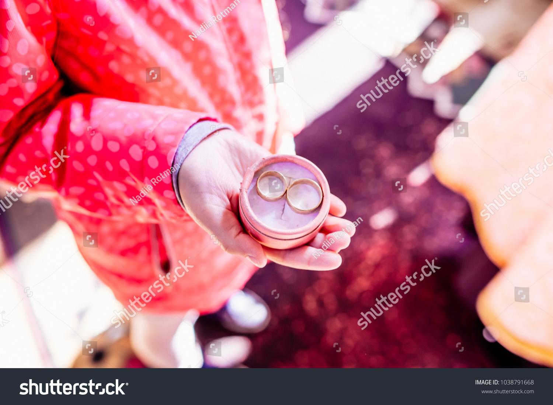Wedding Ceremony Box Rings Hands Child Stock Photo (Edit Now ...