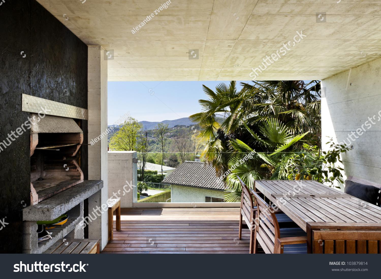 Beautiful Modern House Veranda Fireplace Stock Photo 103879814