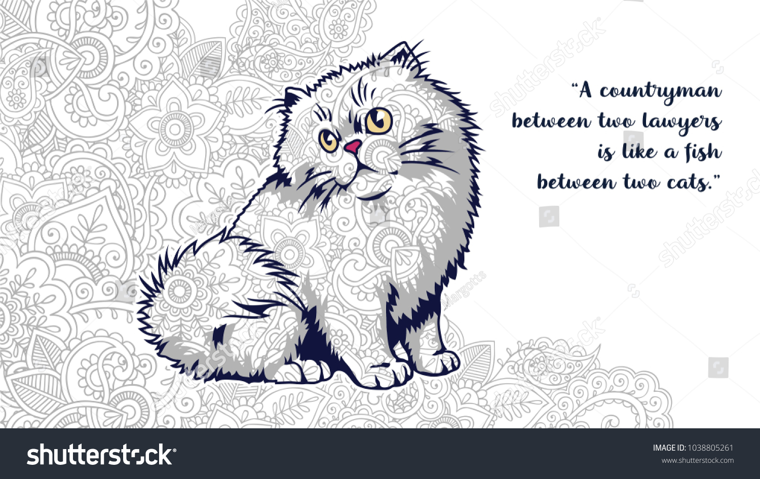 Cat Motivational Quotes Zentangle Stylized Stock Vector Royalty