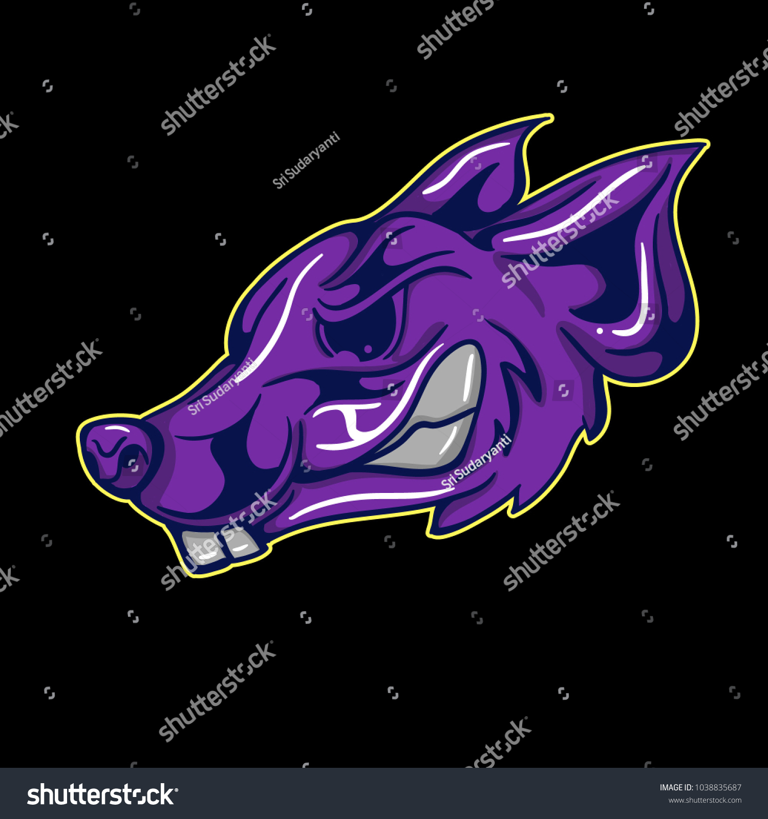 Vector head of purple rats 2