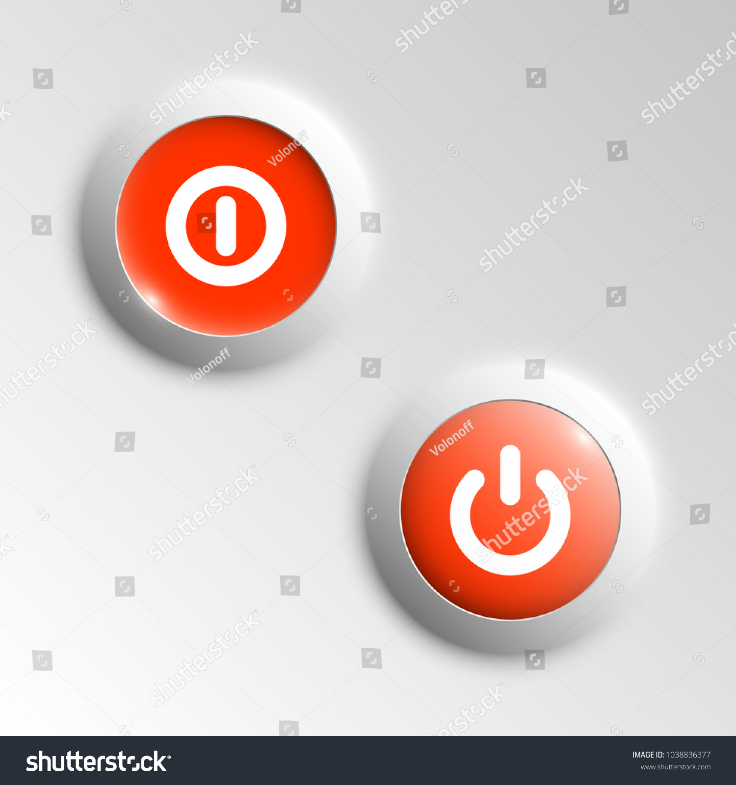 Web Round Button On Off Mark Stock Vector Royalty Free 1038836377