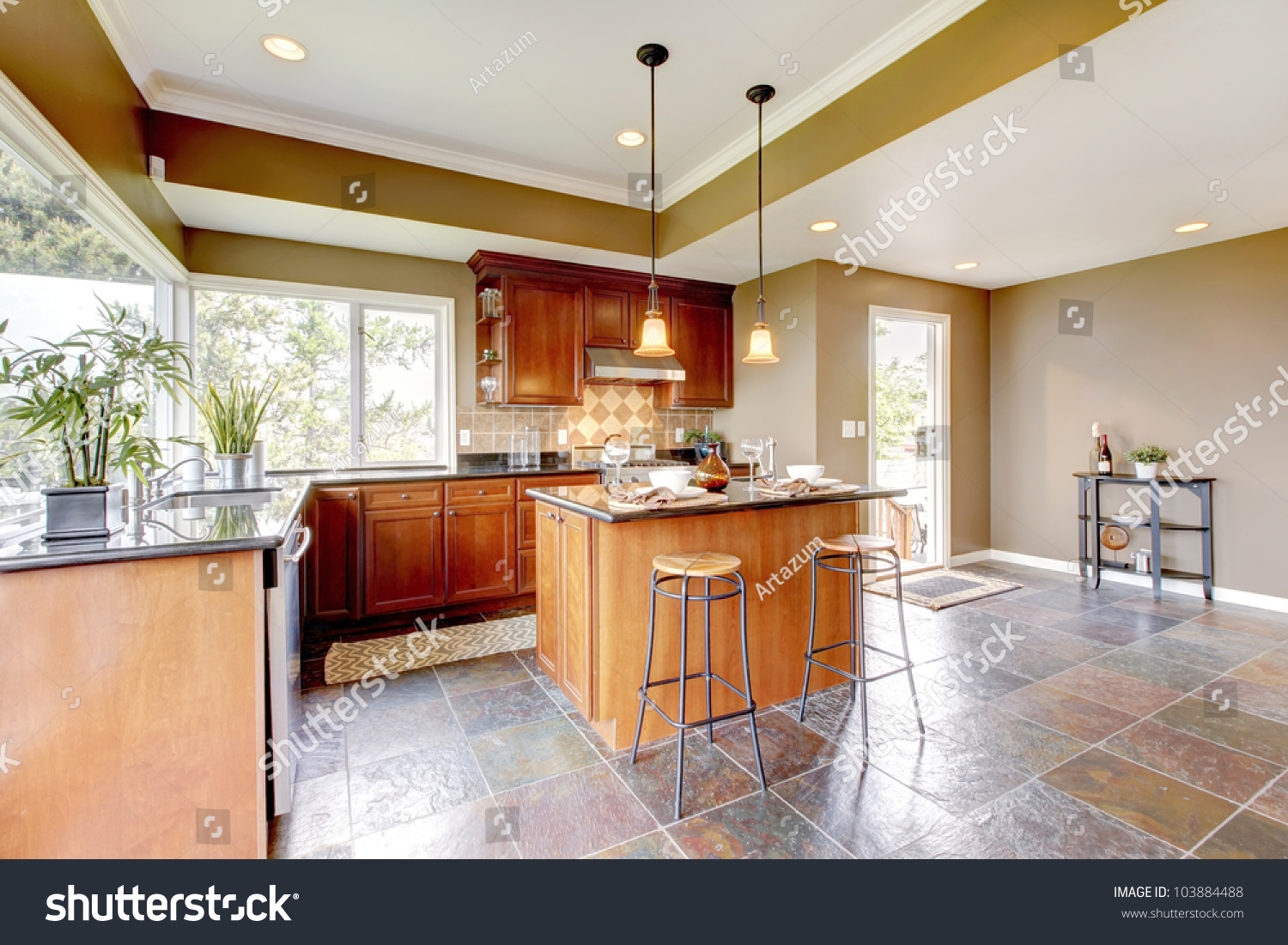 Stone Floor Kitchen Luxury Kitchen Interior With Green Walls And Stone Floor And