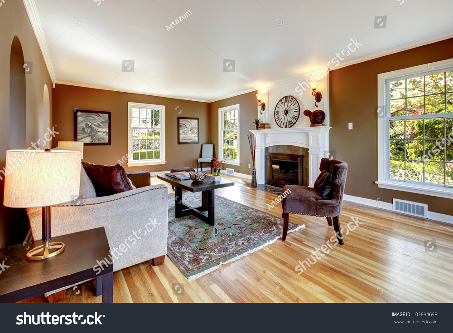 white brown living room classic brown white living room interior stock photo 15317