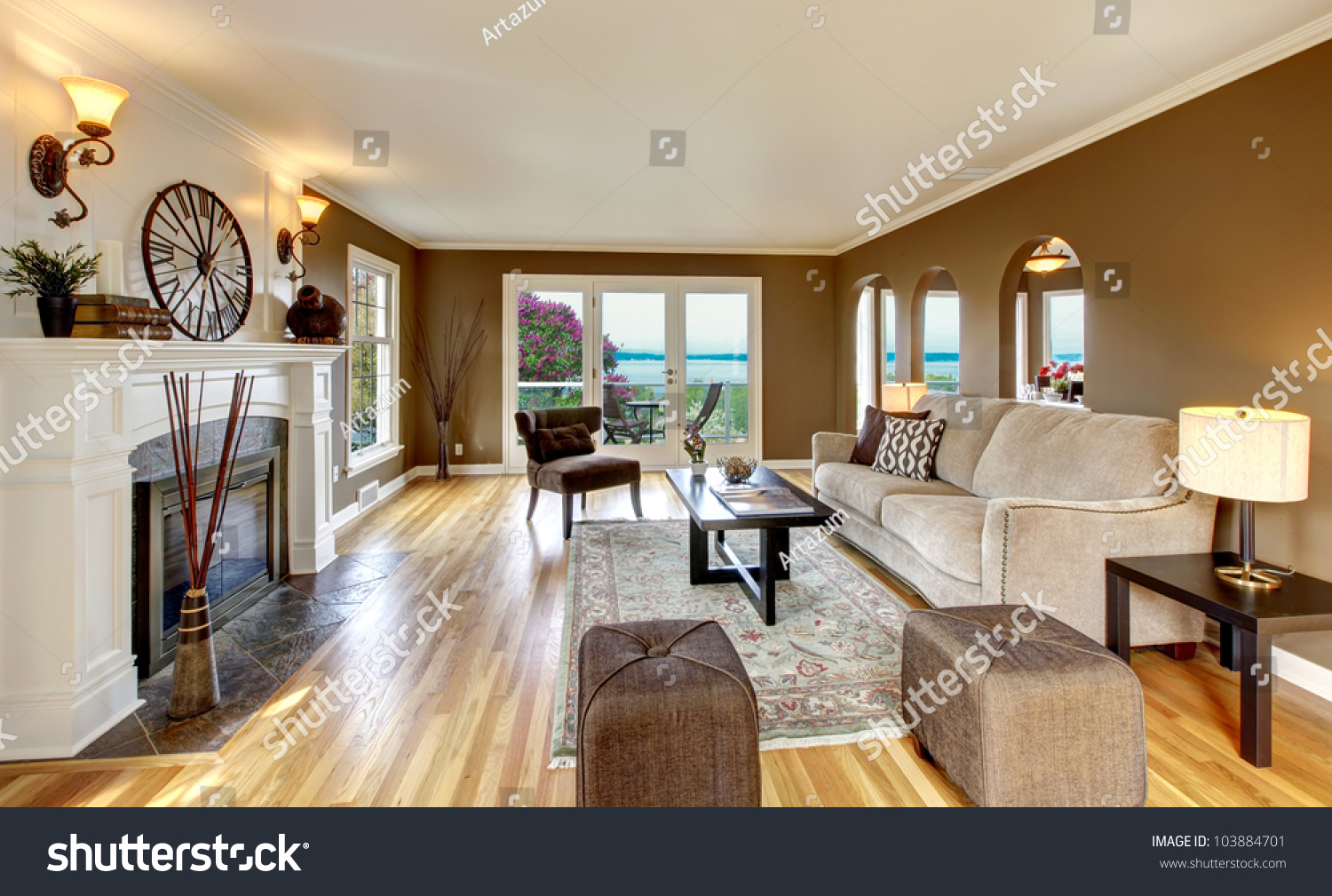 Beautiful living room brown walls fireplace stock photo - Beautiful living rooms with fireplace ...