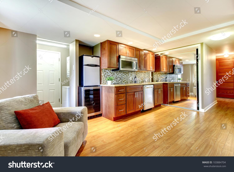 Luxury Kitchen Flooring Basement Luxury Kitchen In The Modern Apartment With Hardwood
