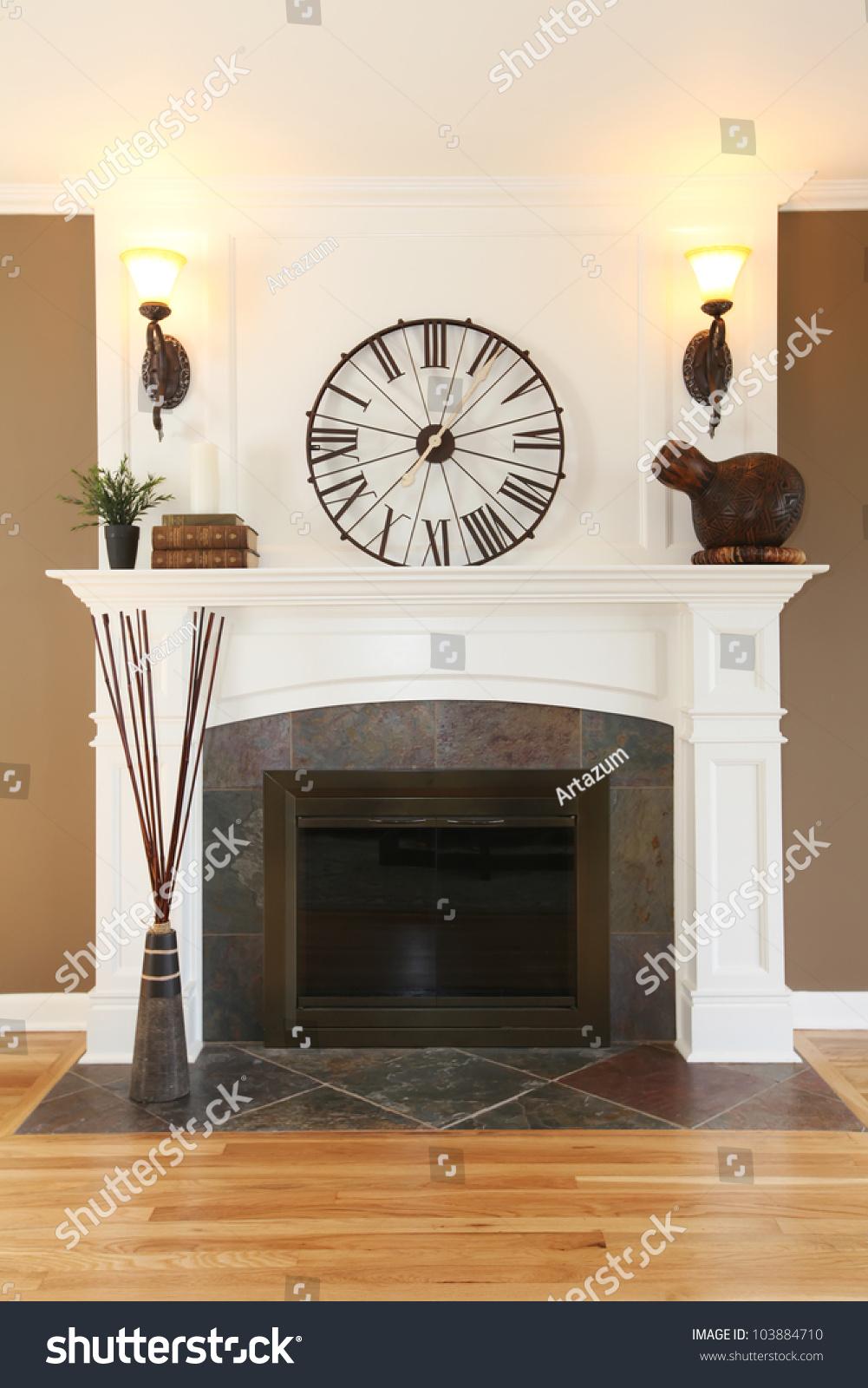 luxury home white fireplace stone clock stock photo 103884710