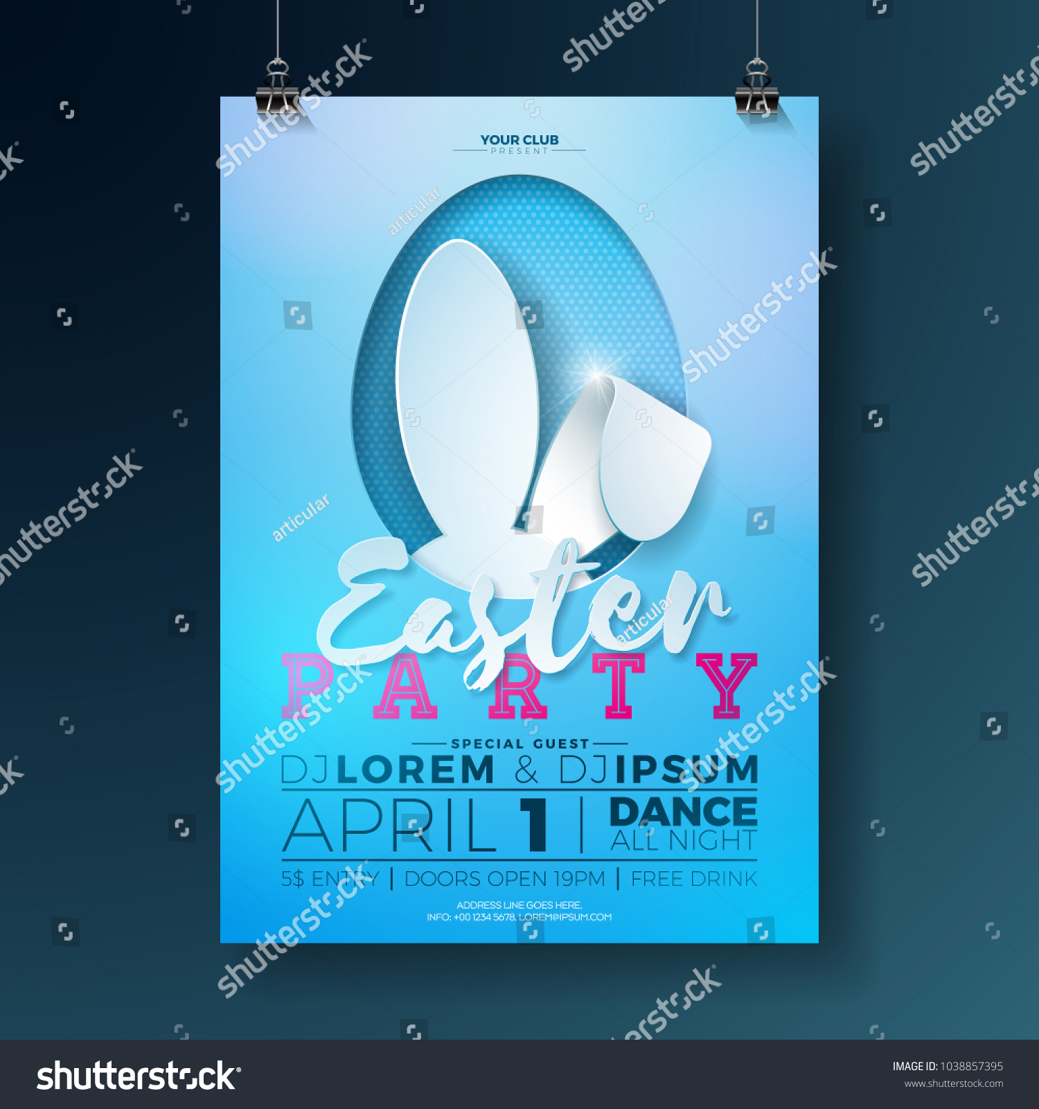 vector easter party flyer illustration rabbit stock vector royalty
