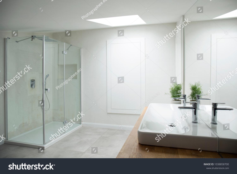 White Bathroom Interior Glass Shower Window Stock Photo (Edit Now ...