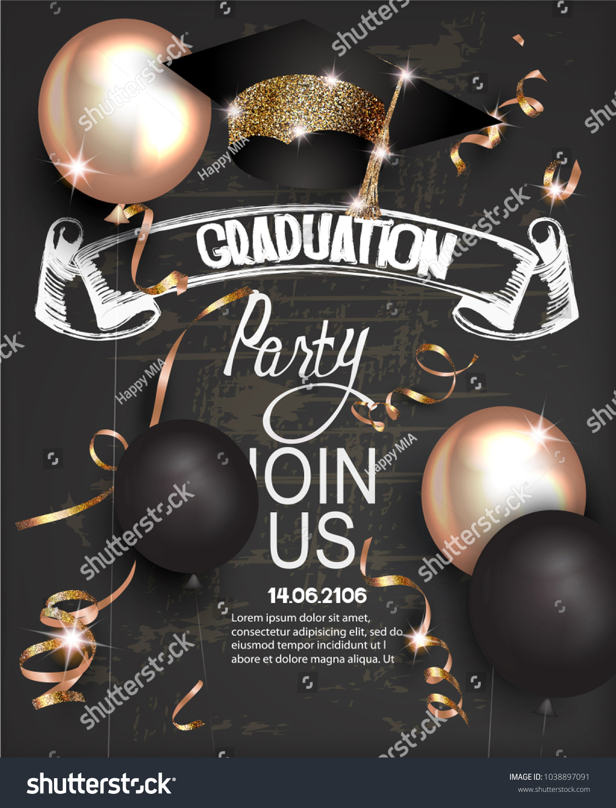 Graduation Party Invitation Card Golden Serpantine Stock Vector ...