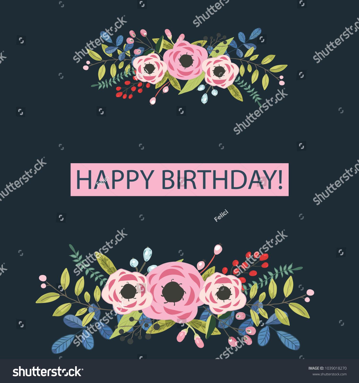 Happy Birthday Flowers Card Universal Card Stock Vector Royalty