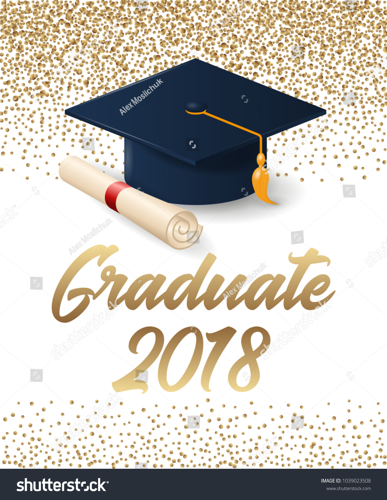 Class 2018 Graduation Poster Hat Diploma Stock-Vektorgrafik ...