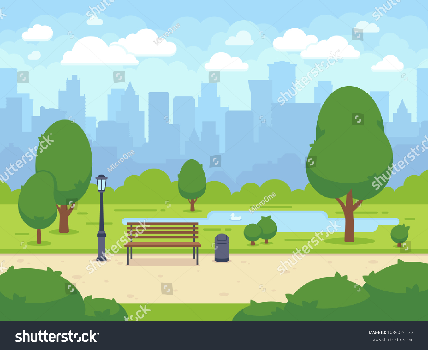 City summer park with green trees bench, walkway and lantern. Town and city park landscape nature. Cartoon vector illustration #1039024132