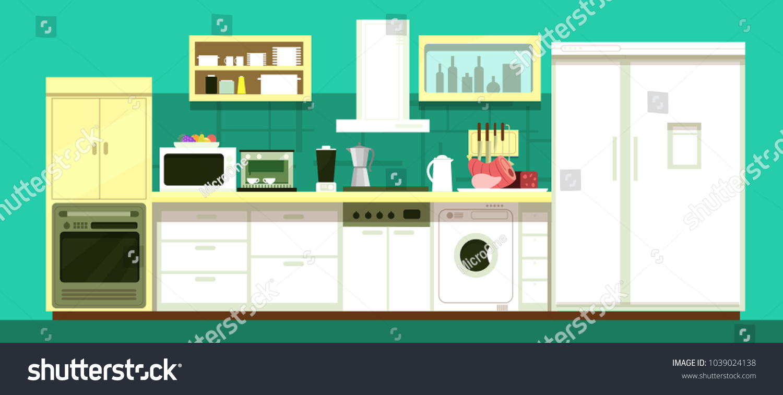 Empty Cartoon Kitchen Room Vector Interior Stock Vector HD (Royalty ...