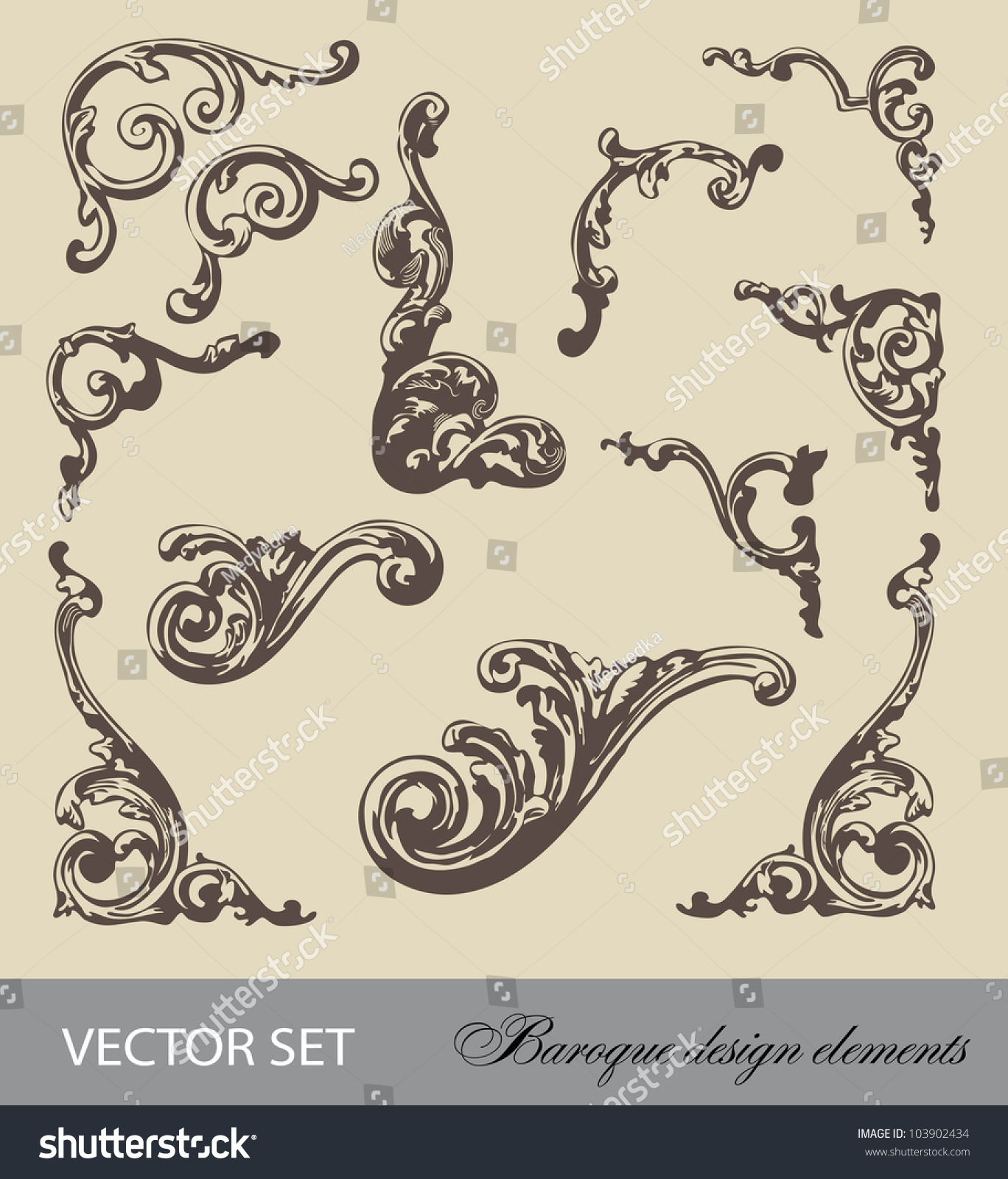Vector set baroque design elements and page decoration for Baroque architecture elements