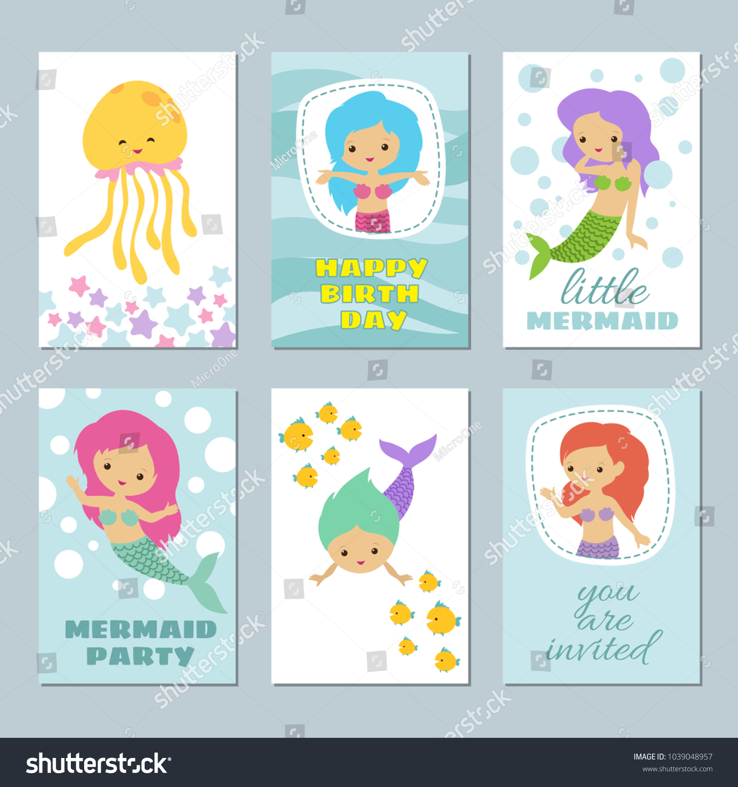 Pretty Baby Mermaids Birthday Greeting Card Stock Vector Royalty