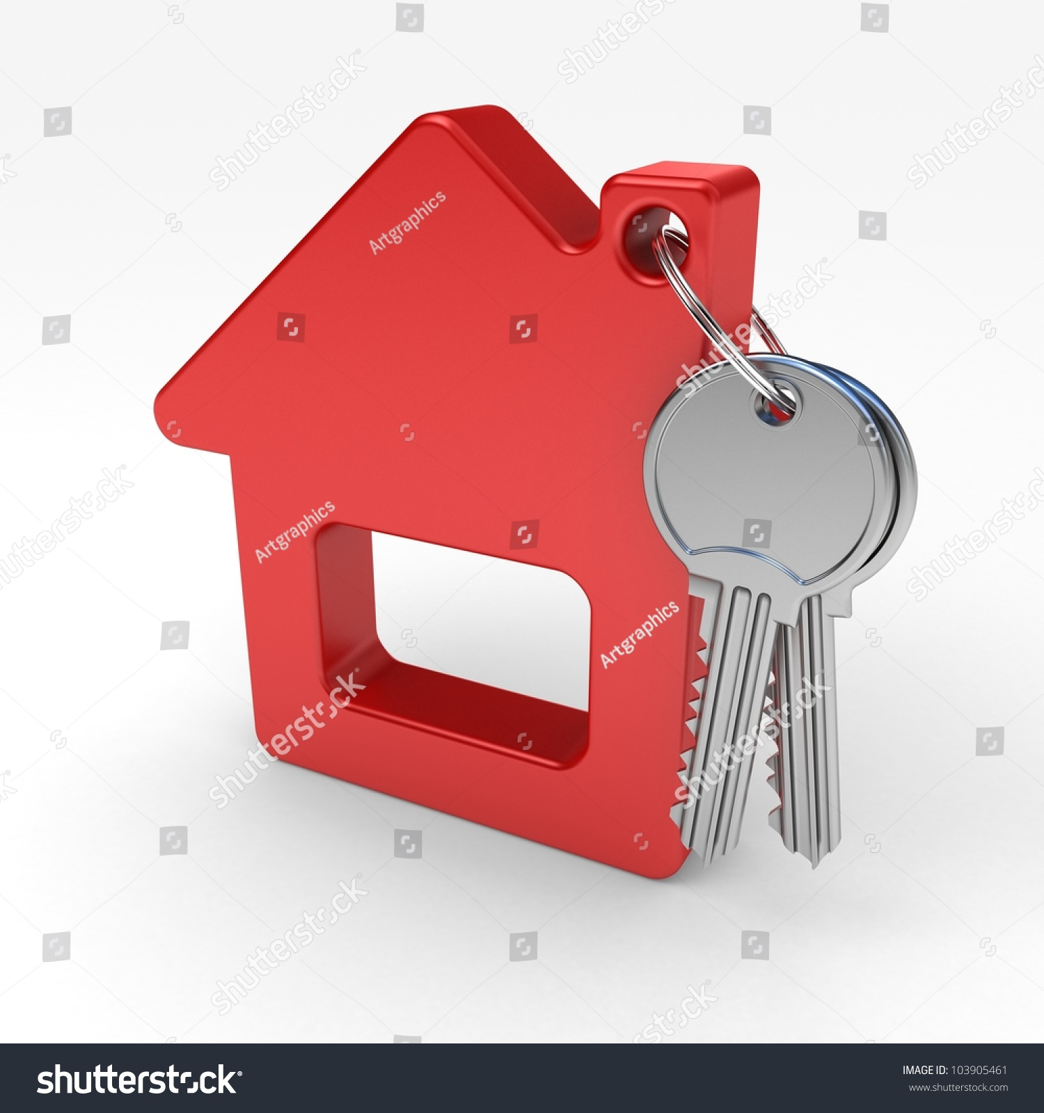 With golden key 3d rendering plan concept with golden key 3d rendering - Red House And Key On A White Background 3d Render