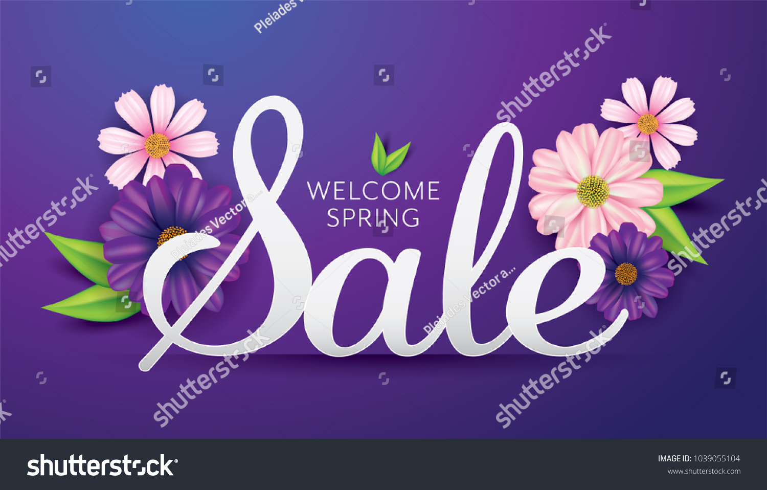 Welcome Spring Sale Banner Template Flowers Stock Vector Royalty