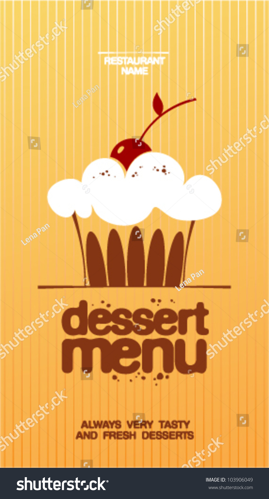 Dessert Menu Card Design Template Stock Vector 103906049
