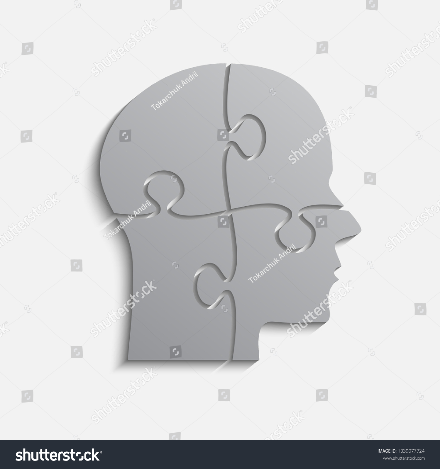 Grey Puzzle Piece Silhouette Head Vector Stock Photo (Photo, Vector ...