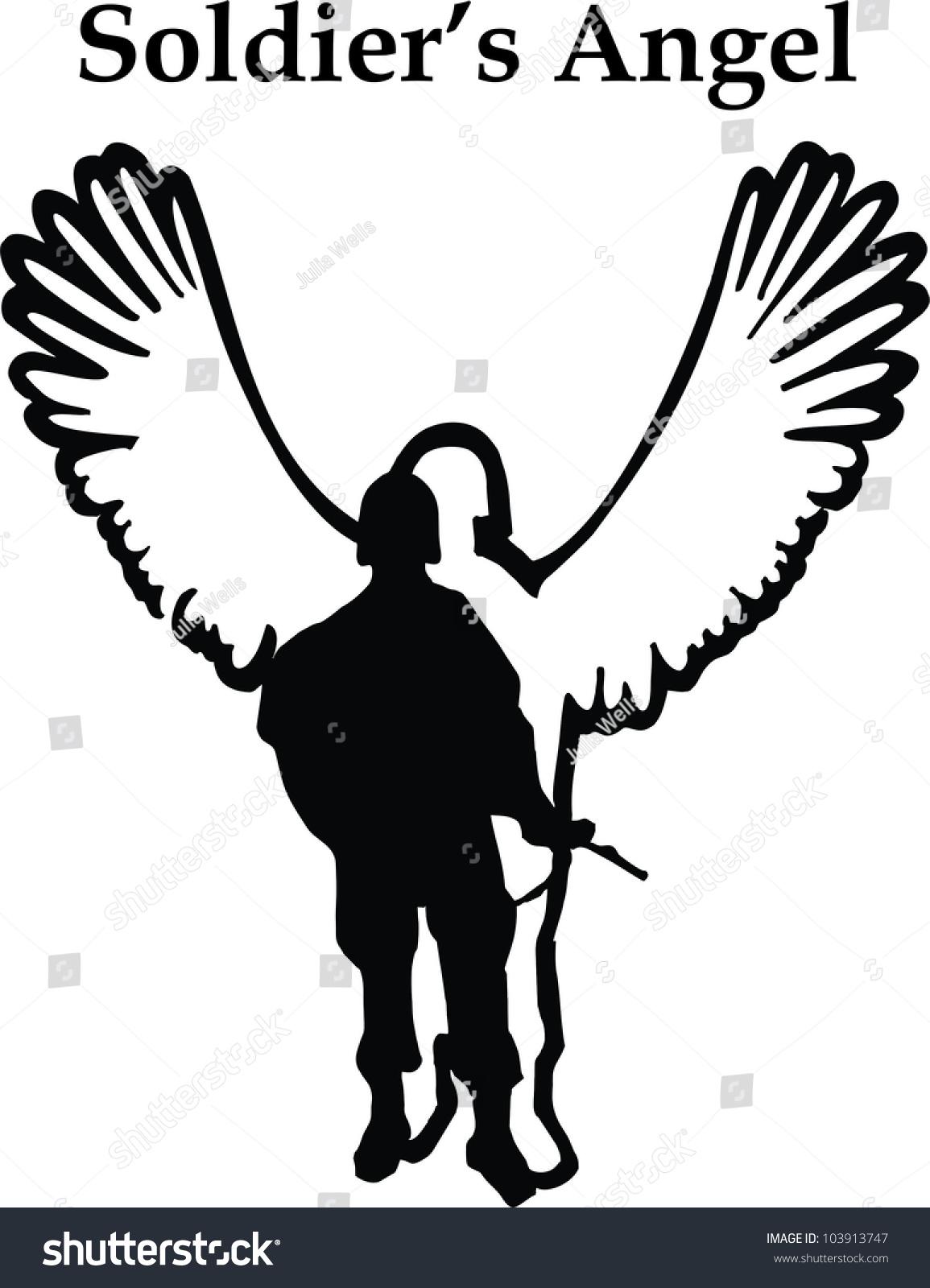 soldiers angel fallen hero memorial clip stock vector