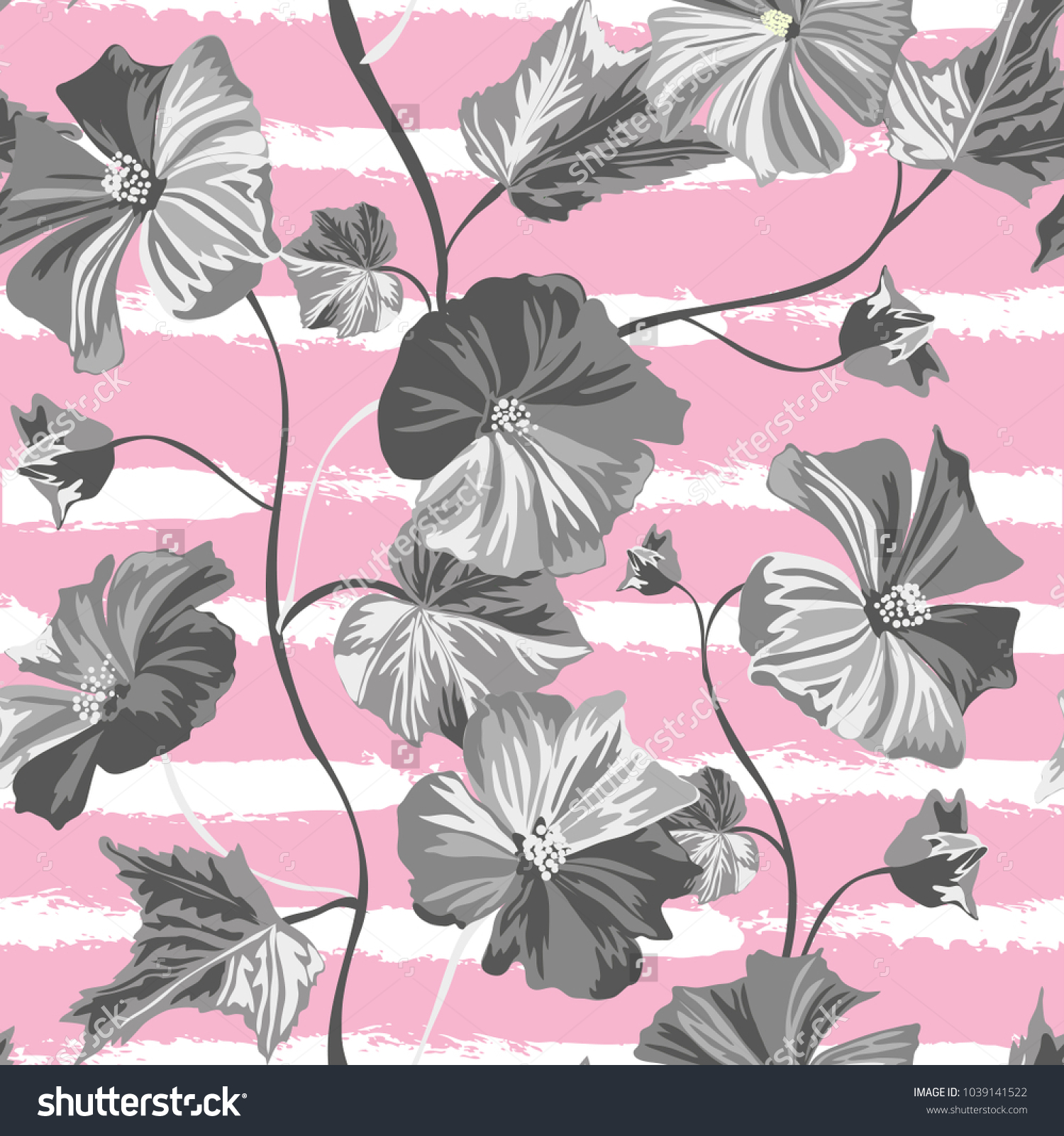 Elegant Seamless Pattern Hibiscus Flowers Design Stock Vector