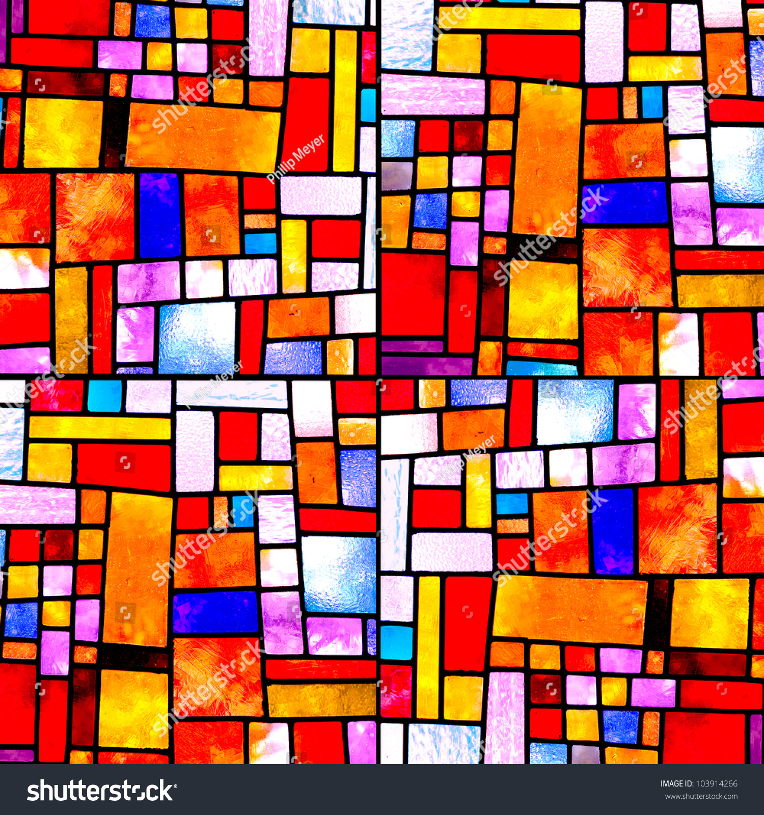 Image of a multicolored stained glass window with irregular random block pattern, square format #103914266