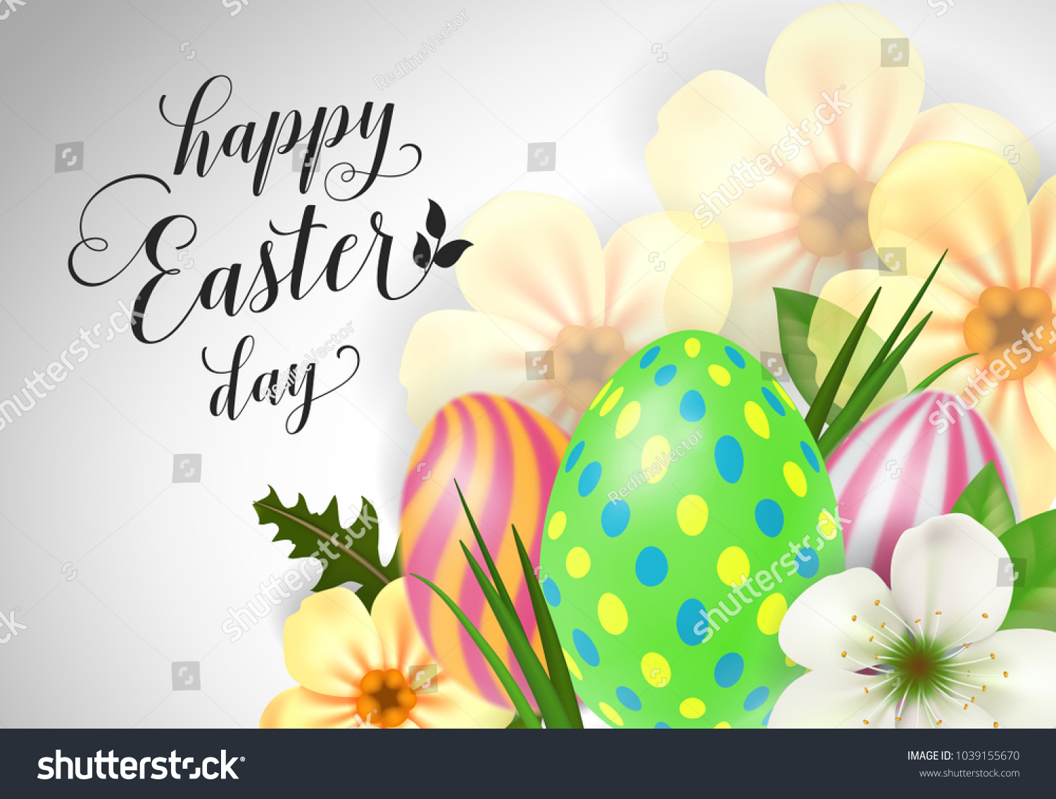 Happy easter day lettering easter greeting stock vector royalty happy easter day lettering easter greeting card with flowers and eggs handwritten text m4hsunfo