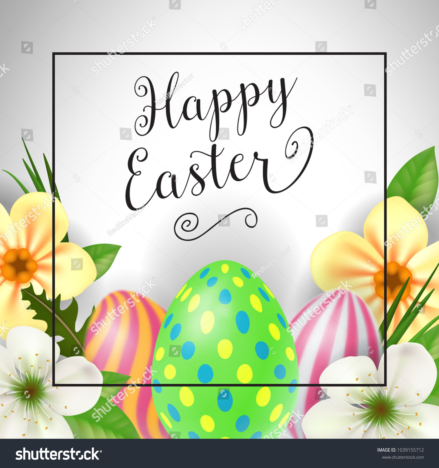 Happy Easter Lettering Frame Easter Greeting Stock Vector Royalty