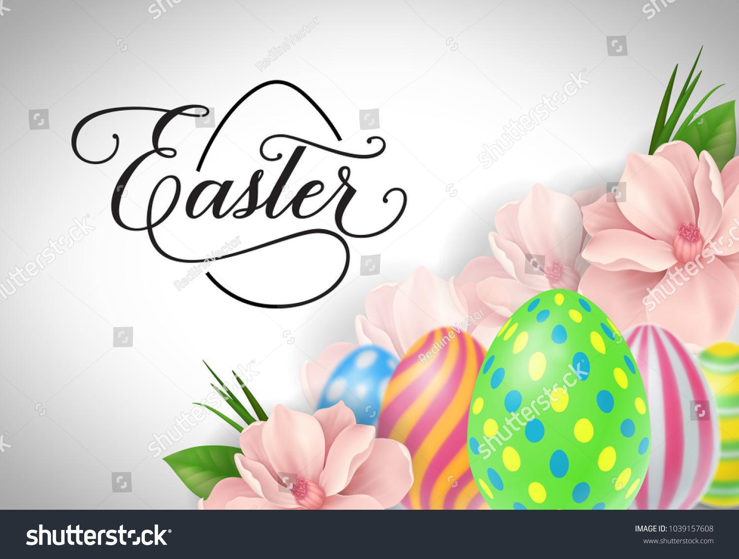Happy Easter Lettering Easter Greeting Card Stock Vector Royalty