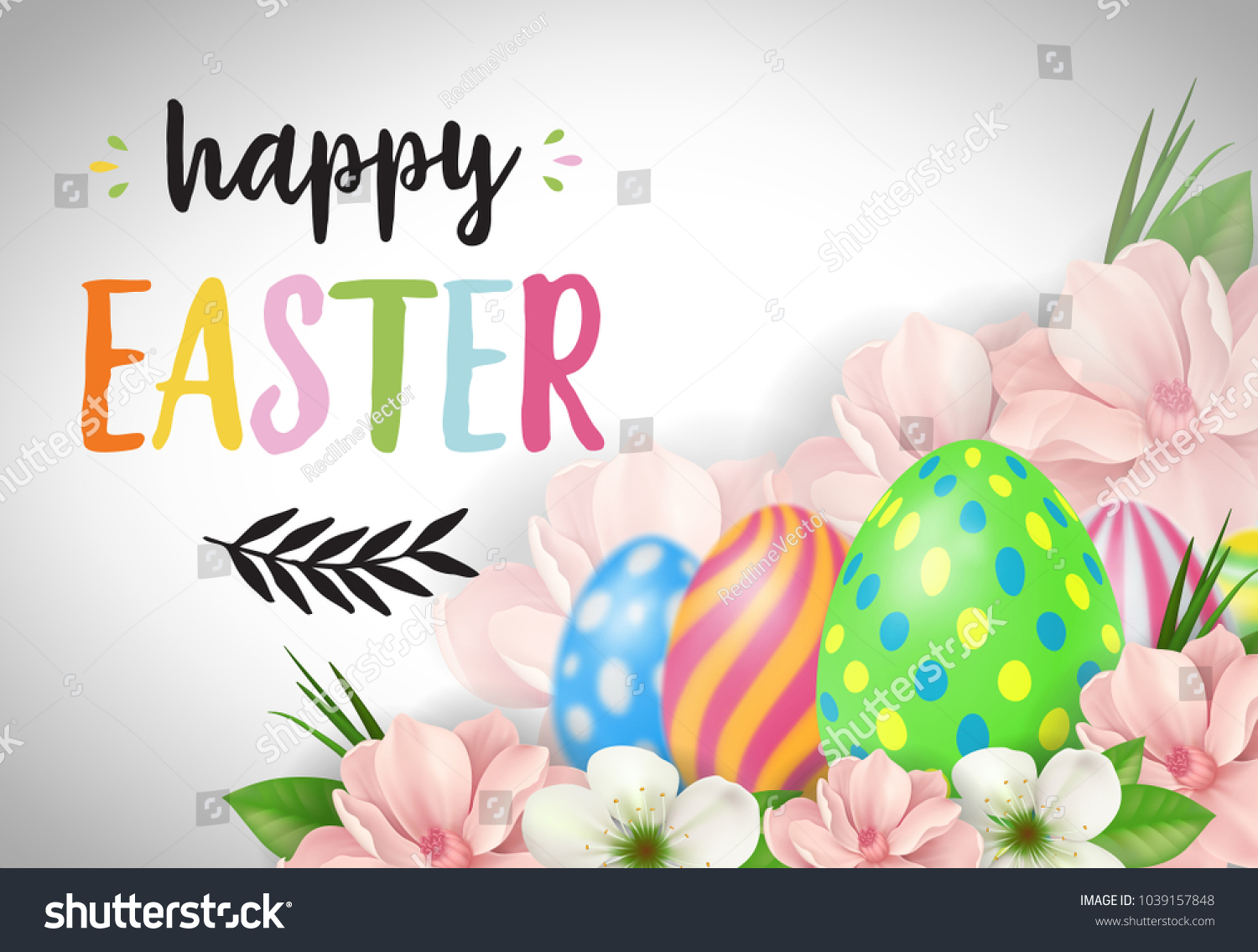 Happy Easter Lettering Easter Greeting Card Stock Vector 1039157848