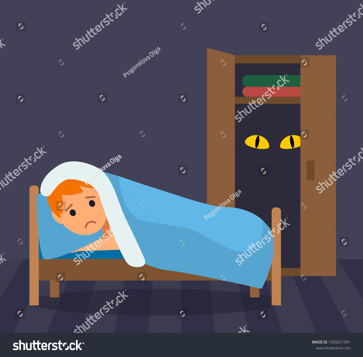 small boy can not sleep very stock vector royalty free 1039221091