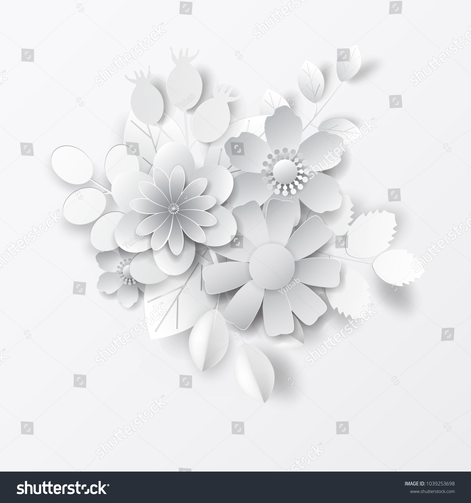 Paper Art Flowers Background Vector Stock Stock Vector Royalty Free