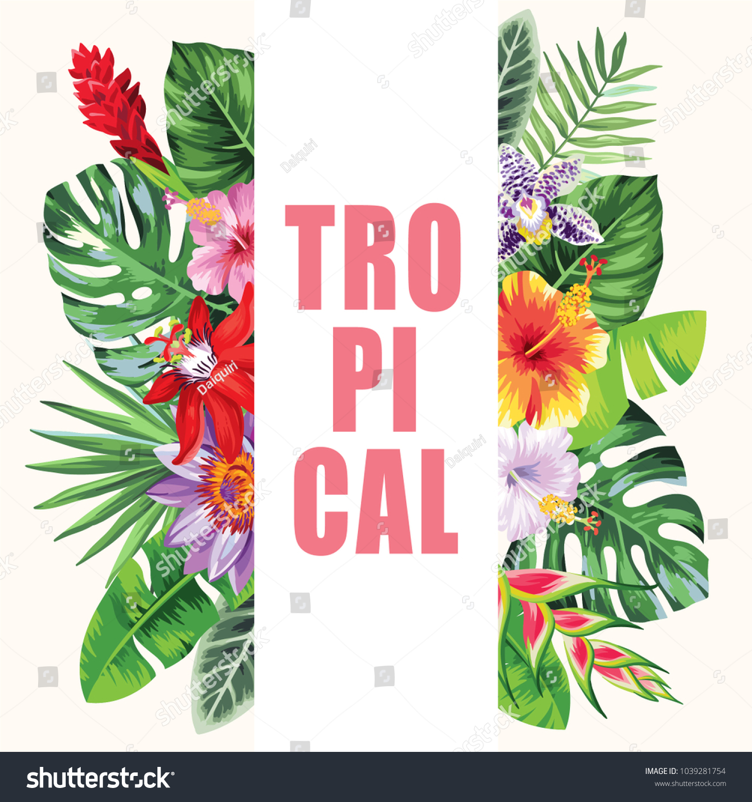 Tropical hawaiian flyer palm leaves exotic stock photo photo tropical hawaiian flyer with palm leaves and exotic flowers template design vector illustration izmirmasajfo