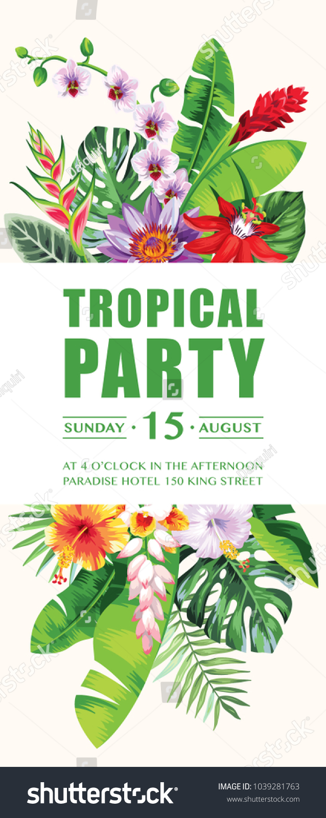 Tropical hawaiian party invitation palm leaves stock vector tropical hawaiian party invitation with palm leaves and exotic flowers template design vector illustration izmirmasajfo