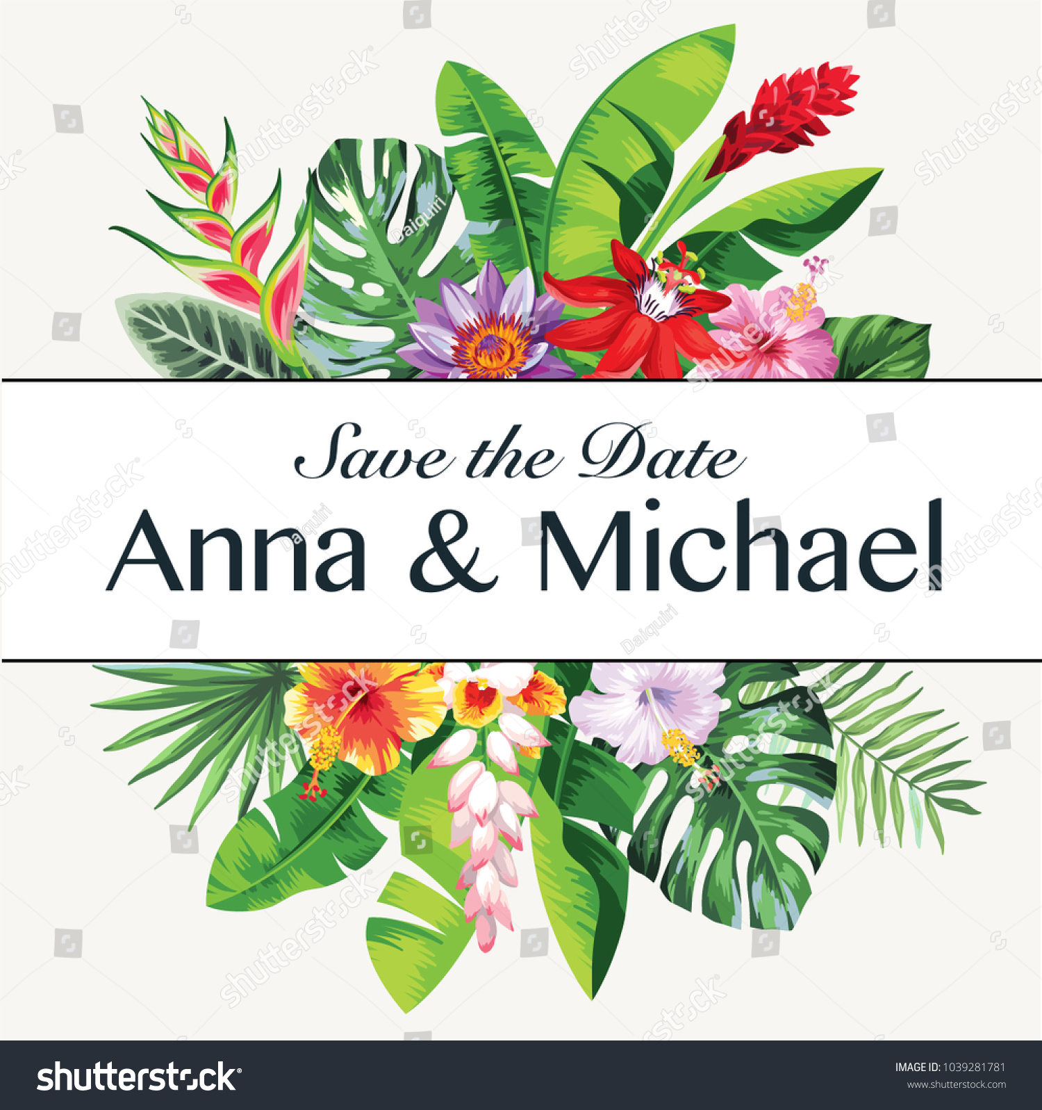 Tropical hawaiian wedding invitation palm leaves stock vector tropical hawaiian wedding invitation with palm leaves and exotic flowers template design vector illustration izmirmasajfo