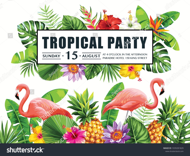 Tropical Hawaiian Party Invitation Flamingos Pineapples Stock Vector ...