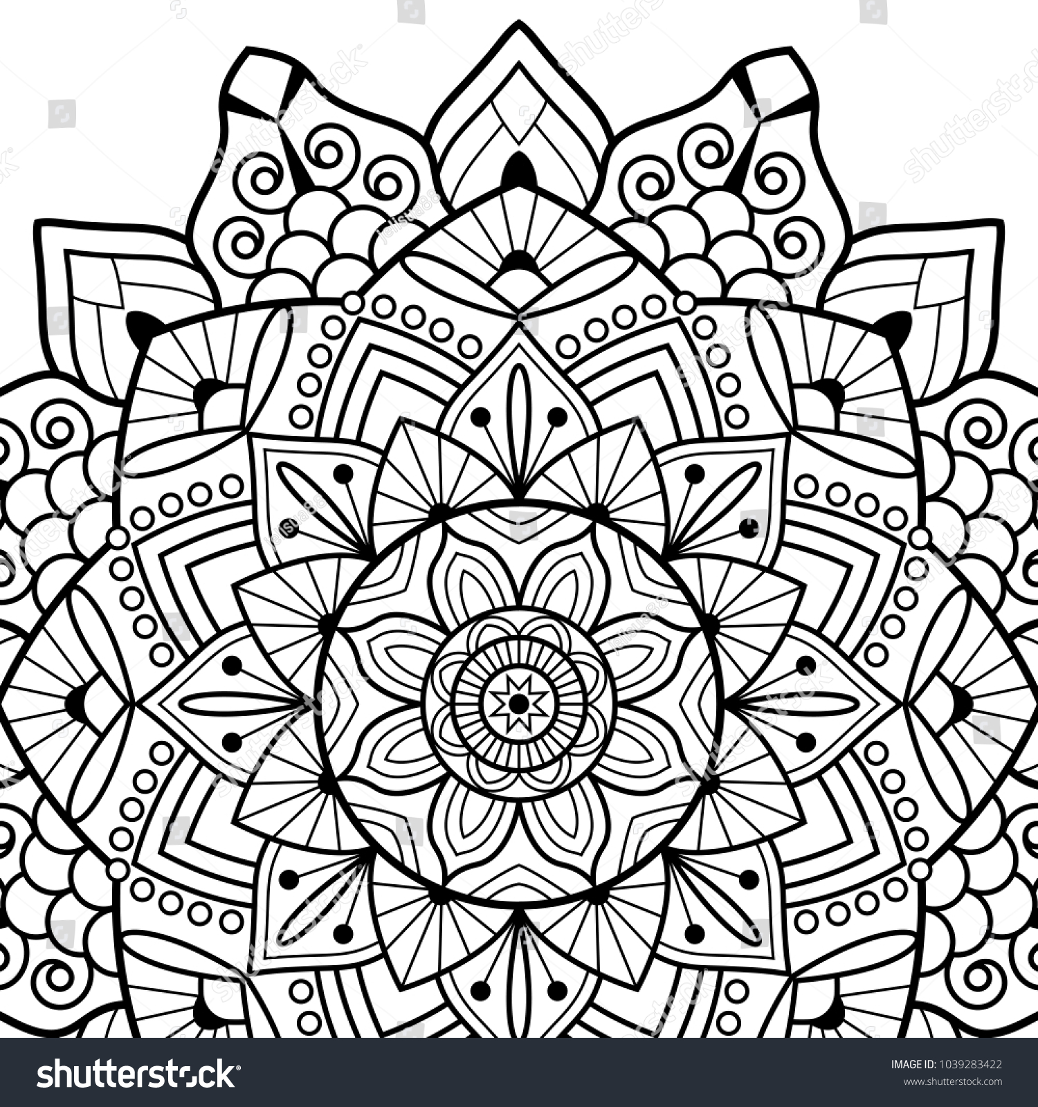 Coloring Book Pages Mandala Indian Antistress Stock Vector 1039283422