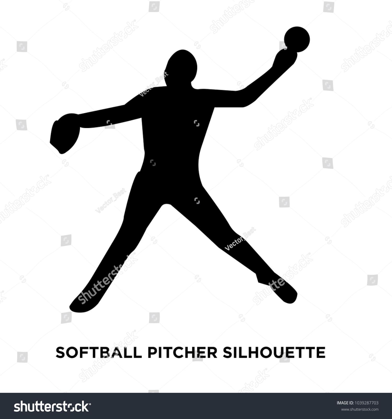 softball pitcher silhouette on white background ez canvas