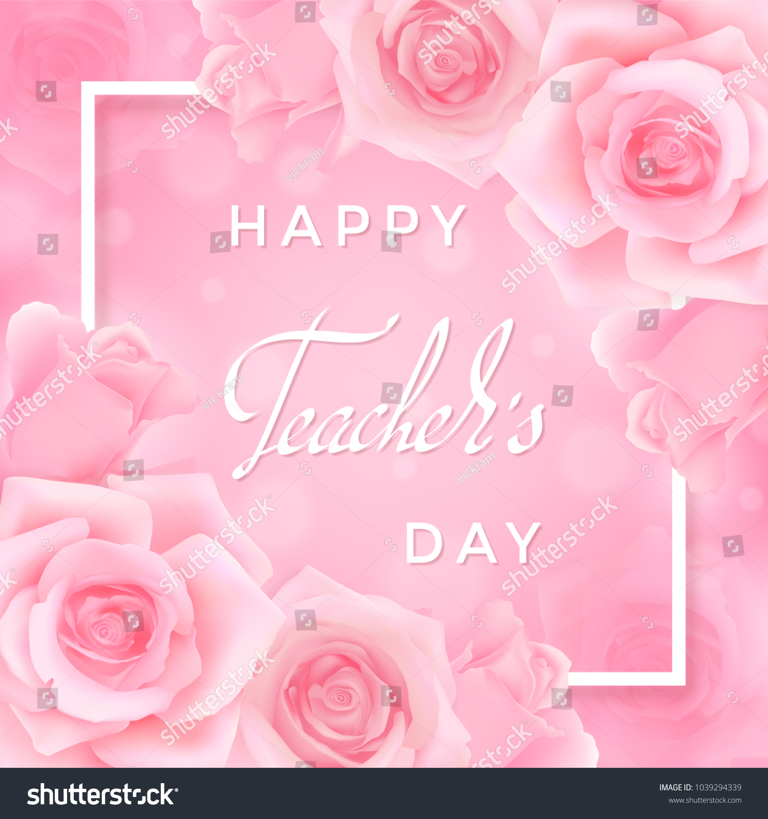 Happy Teachers Day Greeting Card Pink Stock Vector Royalty Free