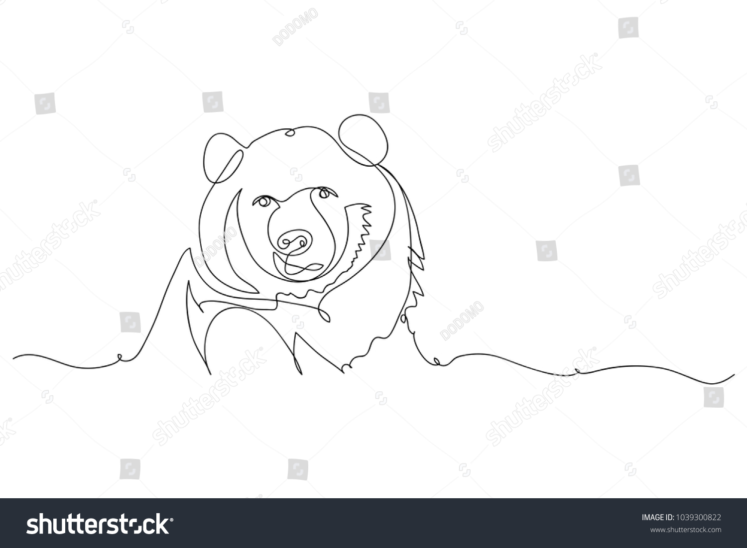 Vector Line Art Animals : Continuous line drawing bears wild animals stock vector royalty