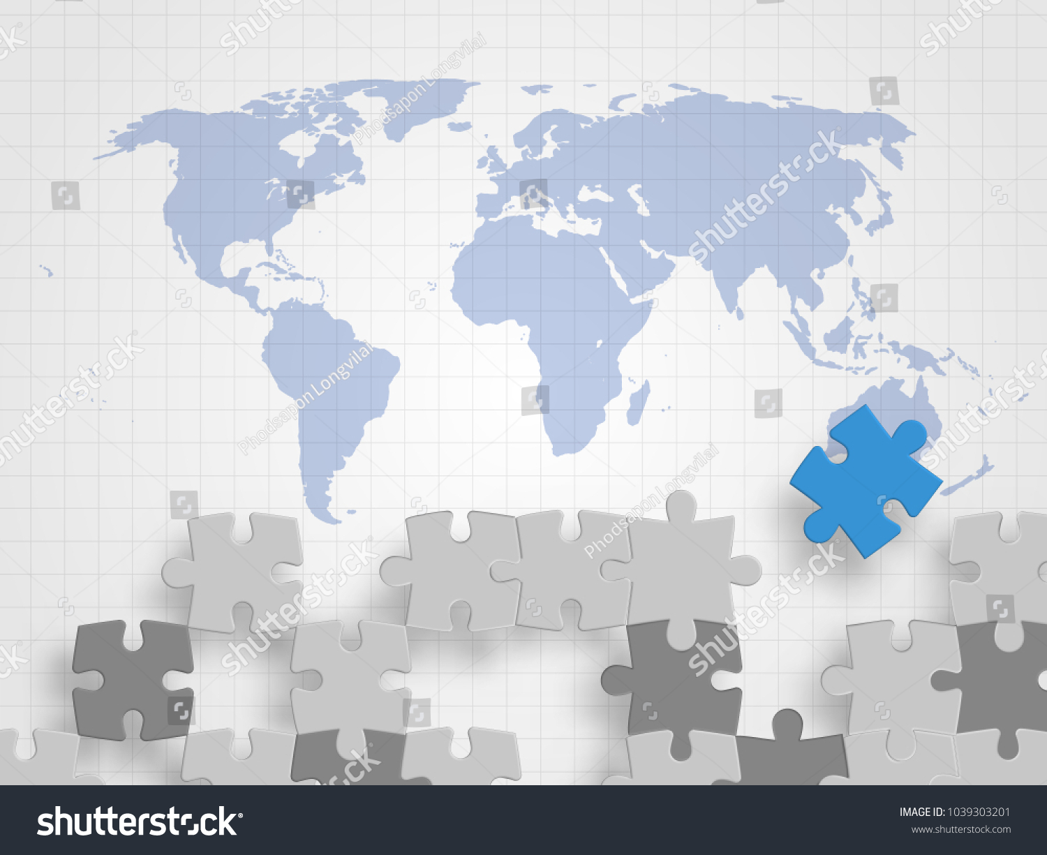 Pieces jigsaw on world map represents stock vector 2018 1039303201 pieces of jigsaw on world map represents concept of teamwork creative thinking global connection gumiabroncs Images