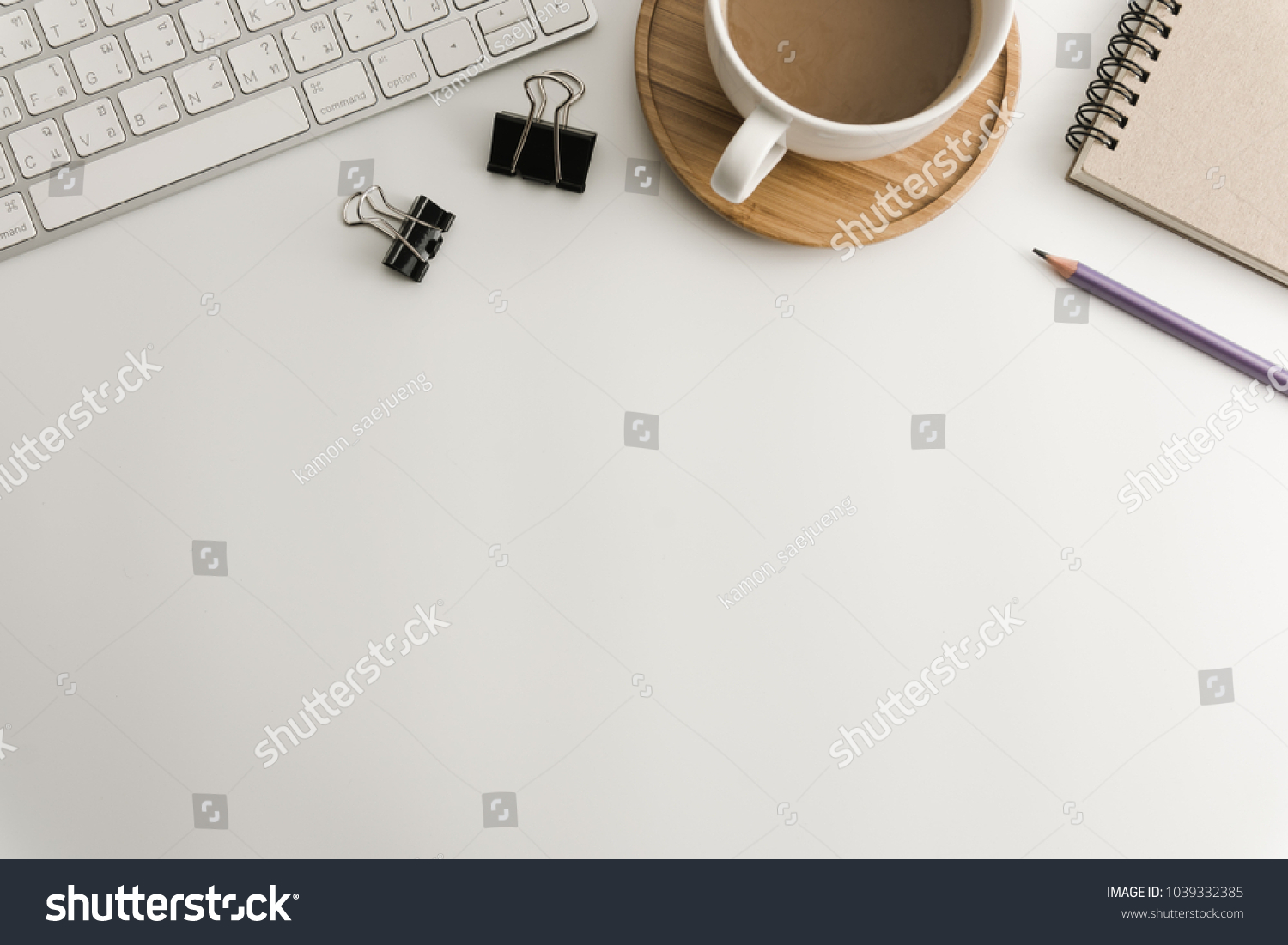 top office table cup. white office desk table with blank notebook, computer, supplies and coffee cup. top cup f